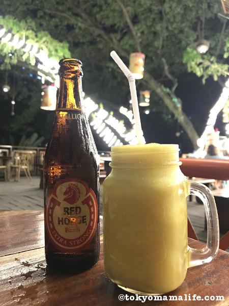 フィリピンビールRED HORSE & マンゴーシェイク